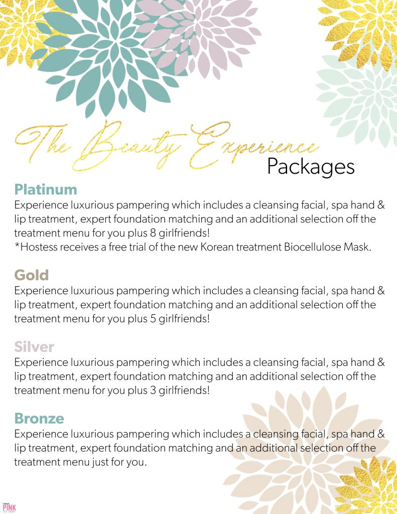 Beauty Experience Packages are based on the number of guests attending.